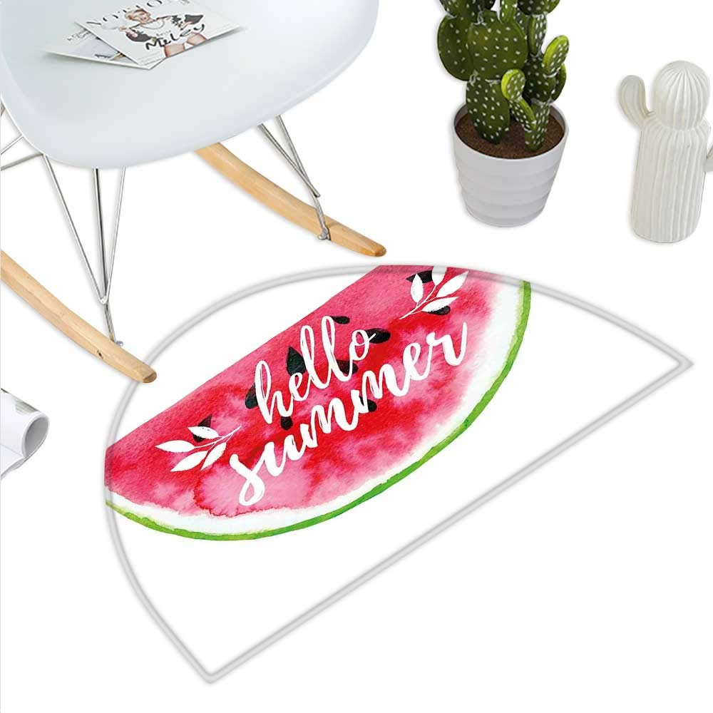 color15 H 31.5  xD 47.2  Lifestyle Semicircle Doormat Hello Summer Inspirational Beach Holiday Quote with Starfish Shell Humor Design Halfmoon doormats H 27.5  xD 41.3  Multicolor