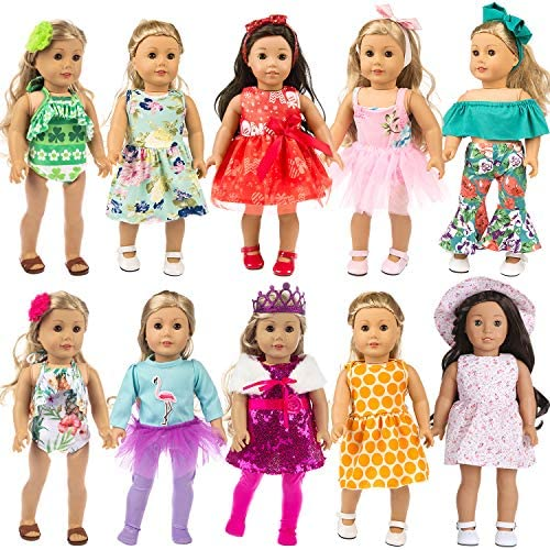 ZITA ELEMENT 24 Pcs Girl Doll Clothes Dress for American 18 Inch Doll Clothes and Accessories – Including 10 Complete Set of Clothing Outfits with Hair Bands, Hair Clips, Crown and Cap