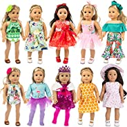 ZITA ELEMENT 24 Pcs Girl Doll Clothes Dress for American 18 Inch Doll Clothes and Accessories - Including 10 C