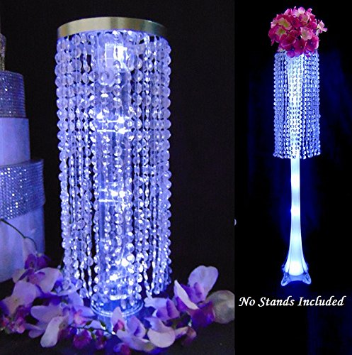 12 Inch Acrylic Column Chandelier for table centerpiece Pack of 2 or 5 - Stand Not Included (Pack of 2, Brushed Silver)