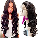 VIPbeauty Virgin Peruvian 360 Lace Frontal Wig With Baby Hair 130% Density Half Lace Wigs Body Wave Human Hair For Black Women 100% Unprocessed Virgin Human Hair-18 inch