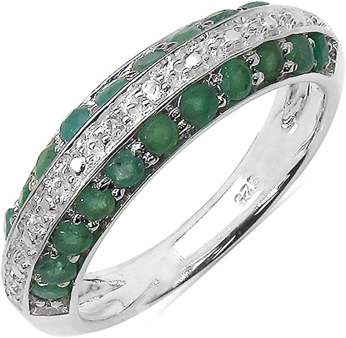 Silvancé - Anillo de mujer - plata esterlina 925 bañada en rodio - auténtico piedras preciosas: Emerald ca. 0.97ct. - R4666E_SSR