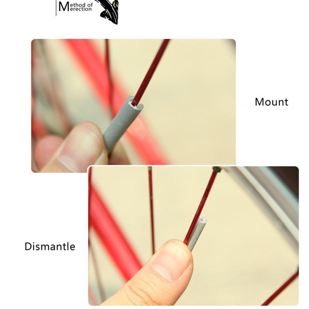 ttnight 12pcs//Set Cycling Wheel Spoke Reflector Clips Reflective Mount Clip Tube Wheel Warning Strip Stickers