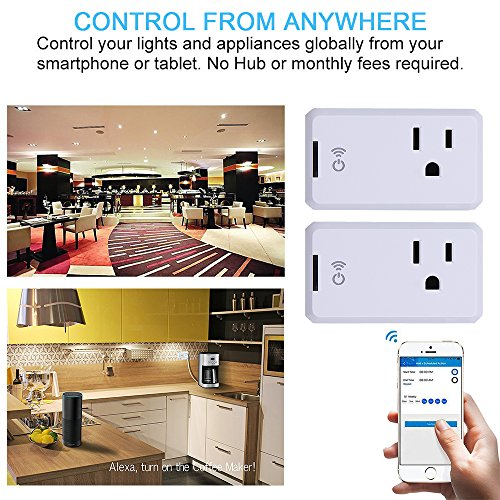 Smart WiFi Outlet Socket, BOSCHENG Wireless Outlet Switches Remote Control WiFi Timing Socket for Household Appliances, Works with Amazon Echo Alexa & Google Assistant (2 PCS) by BOSCHENG (Image #5)