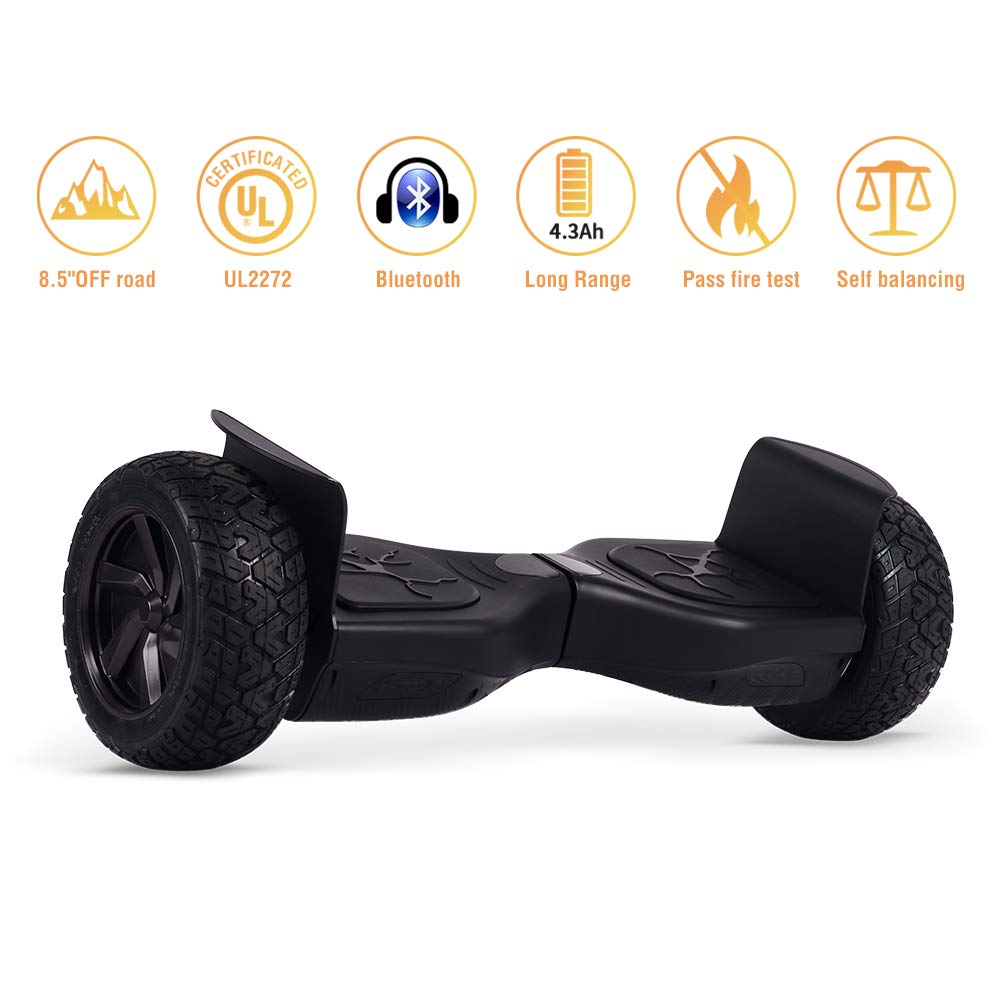 Koowheel Off Road Hoverboard 8.5'' All Terrain Hoverboard with Bluetooth Speakers, UL2272 Certified Two Wheel Self Balancing Scooter for Adults and Kids (12Km/h 264lbs Max)- Black