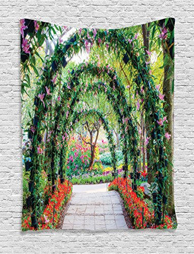 Ambesonne Country Home Decor Tapestry Wall Hanging, Flower Arches with Pathway in Ornamental Plants Garden Greenery Romantic Picture, Bedroom Living Room Dorm Decor, 60 W x 80 L inches, Green Red from Ambesonne