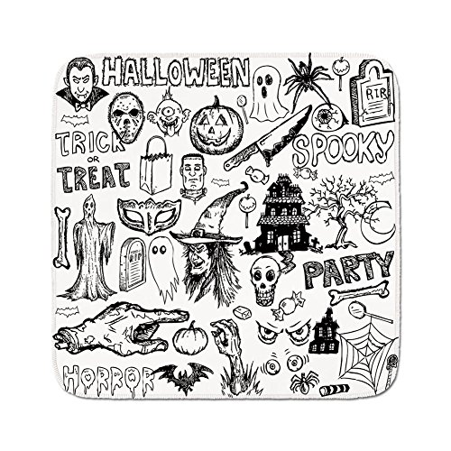 Cozy Seat Protector Pads Cushion Area Rug,Vintage Halloween,Hand Drawn Halloween Doodle Trick or Treat Knife Party Severed Hand Decorative,Black White,Easy to Use on Any Surface ()