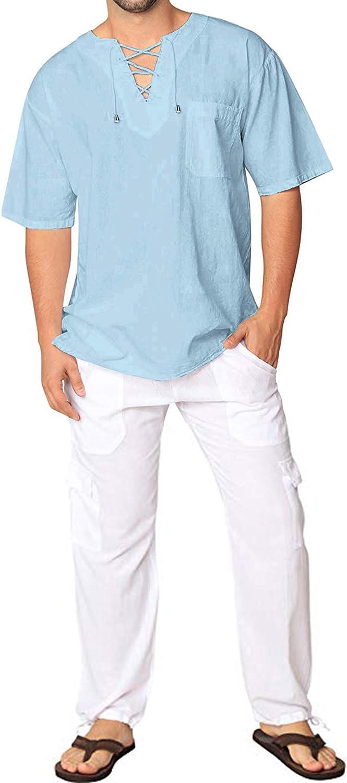JINIDU Mens Fashion T Shirt Cotton Linen Tee Hippie Shirts V-Neck Yoga Top