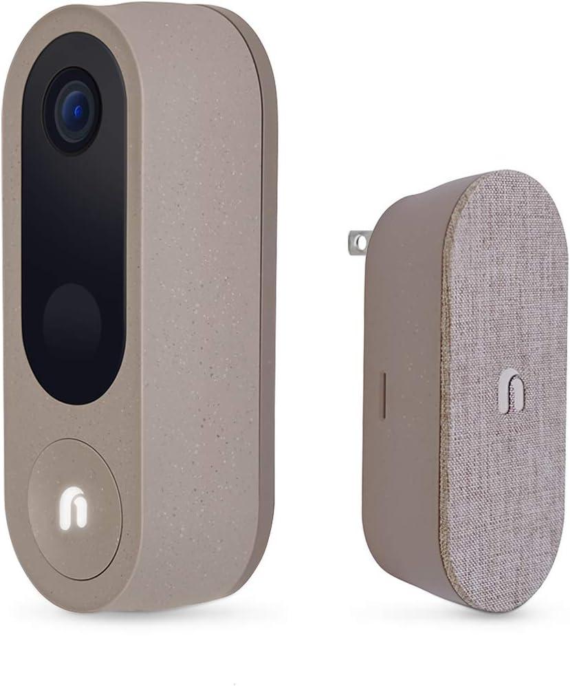 Nooie Video Doorbell Camera with Chime, Wireless Smart Camera Doorbell with 2k Resolution, Dual Band 2.4/5Ghz, Human Detection, 2-Way Audio, Built-in Siren, IP66 Waterproof, Easy Installation