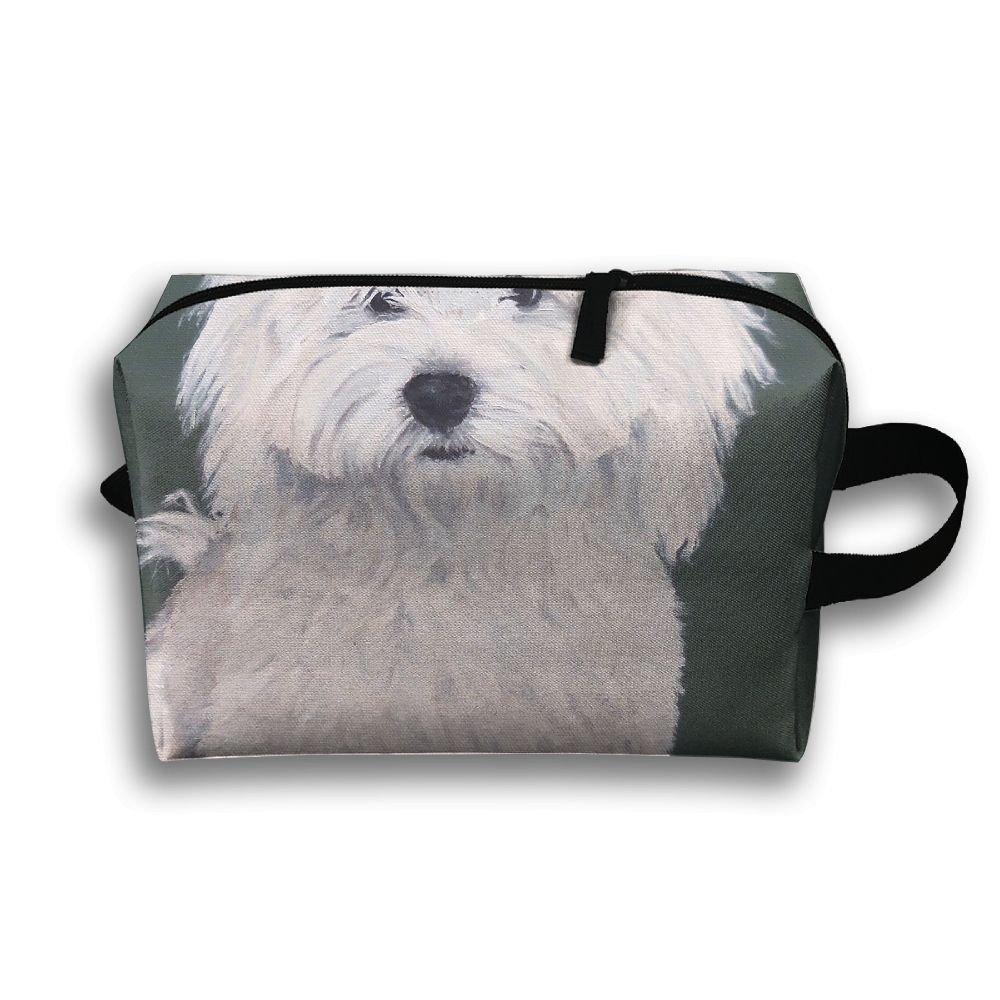 LEIJGS かわいいハバニーズ犬のアート 小型 旅行 トイレタリーバッグ 超軽量 トイレタリーオーガナイザー 夜間の旅行用バッグ B07JCK21JX