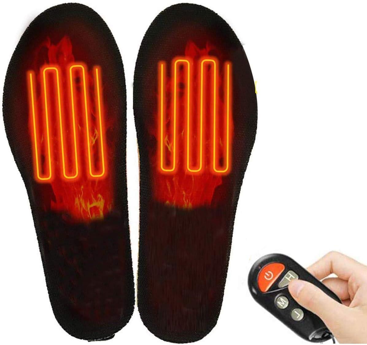 USB Lade Elektrisch Beheizbare Einlegesohlen Beheizte Schuheinlagen Sohlen Black