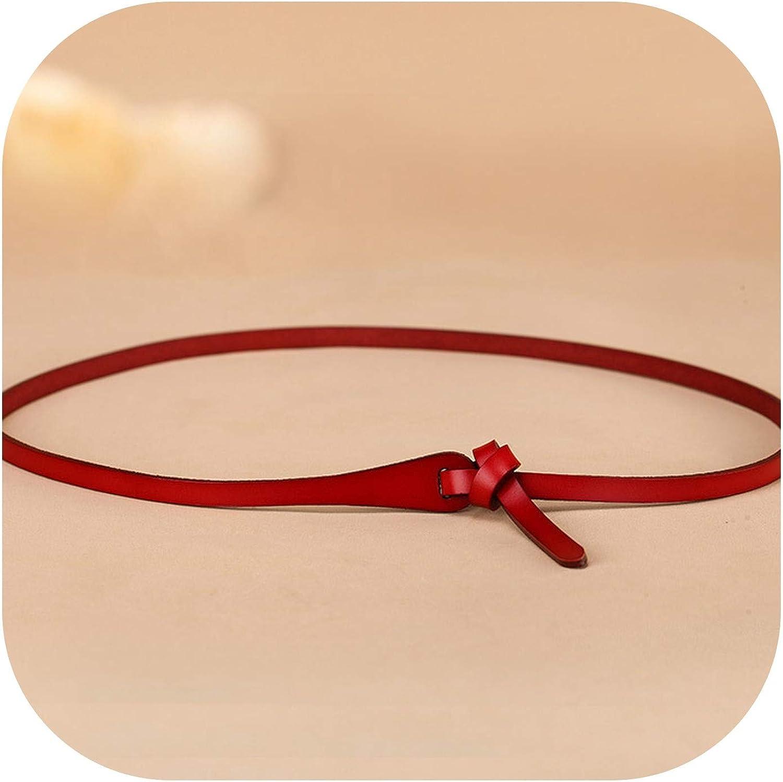 Cinturón de piel para mujer con lazo fino de piel de vaca para mujer, 6 colores caramelos-112 cm