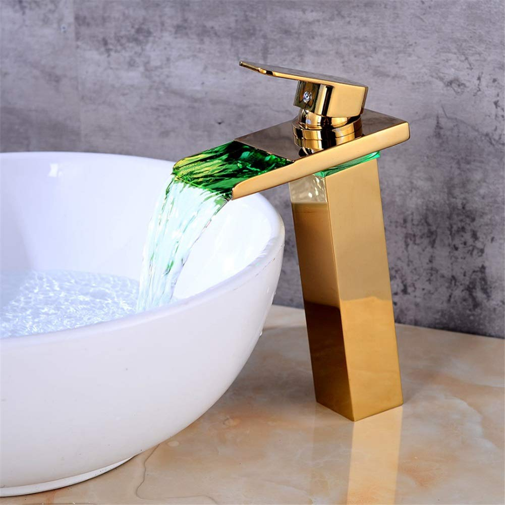 Basin Taps European Gold Basin Faucet Bathroom LED Waterfall Faucet Wash Basin Hot and Cold Copper Faucet