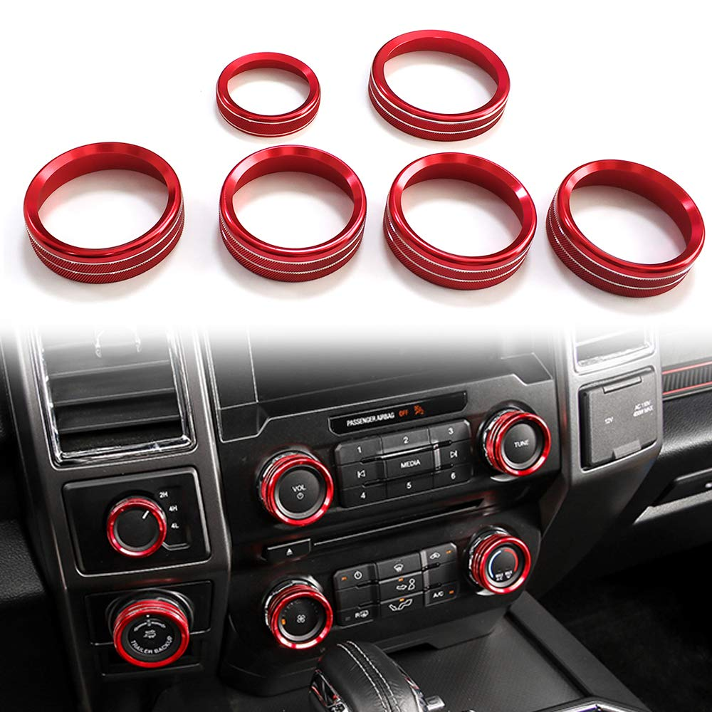 6 Pcs Aluminum Alloy Car Inner Side Air Conditioner Trailer 4WD Switch Knob Ring Cover Trim for Ford F150 XLT 2016 2017(Red) Auovo