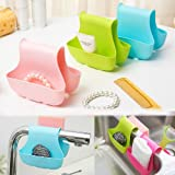 Deziredeal Dual Side Folding Plastic kitchen Sink Hanging Bags Hanging Silicon Sink Caddy-PINK