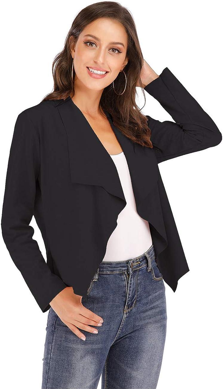 Bol/éro Femme Blouse Court Blazer Cardigan Basic Veste de Soiree Gilet Noir Rose Marron Femme Manches Longue Ch/âle El/égant