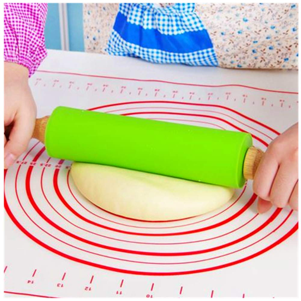 Honglida 9 Inch Silicone Rolling Pin for Kids Non-stick Surface and Comfortable Wood Handles Pack of 1 Blue CY-7151