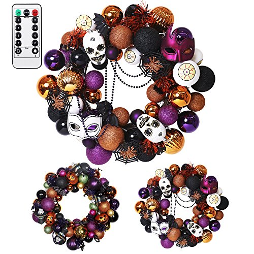 "Valery Madelyn 20"" Pre-Lit Traditional Halloween Wreath with Spooky Shatterproof Ornaments Including Skulls,Spiders,Eye Balls,Bats and Masks,Rattan Base with 20 LED Lights,Remote and Timer Included"