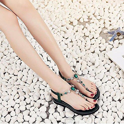 Selvaggi colore Sandali I Jianxin Infradito Di Green Le Femminili Dimensioni Moda In 35 Punta Estivi Strass Puntavano P1Owp
