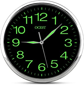OCEST 12 Inch Wall Clock with Night Light Large Display Silent Non Ticking Quality Quartz Battery Operated Indoor Outdoor Decorative Clock for Bedroom Living Room Kitchen Office School Garage