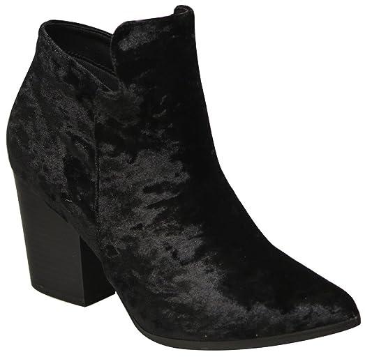 Brock-2 Women's pointy toe side zip block heel velvet ankle booties