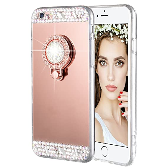 3454333f7c iPhone 6 Plus 6S Plus Case, Caka Rhinestone Series Glitter Luxury Cute  Shiny Bling Mirror Makeup Case for Girls with Ring Kickstand Diamond TPU  Case for ...