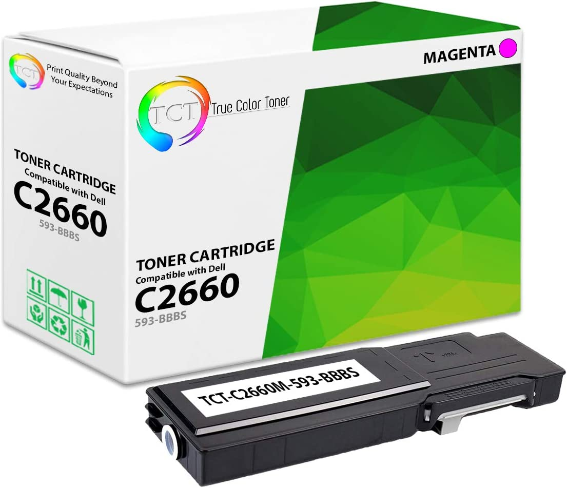 TCT Premium Compatible High Yield Toner Cartridge Replacement for Dell C2660DN C2665DNF Printers 4 Pack Black 593-BBBU, Cyan 593-BBBT, Magenta 593-BBBS, Yellow 593-BBBR
