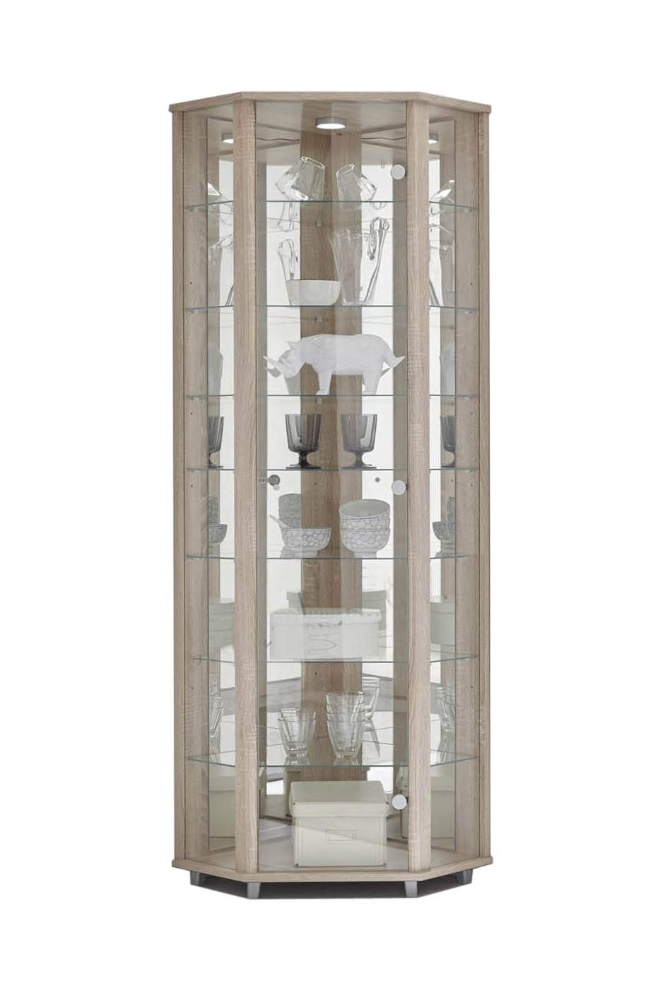 LOCKABLE Fully Assembled Home LED Shelf Lit Double Glass Display Cabinet SILVER with 4 Glass Shelves