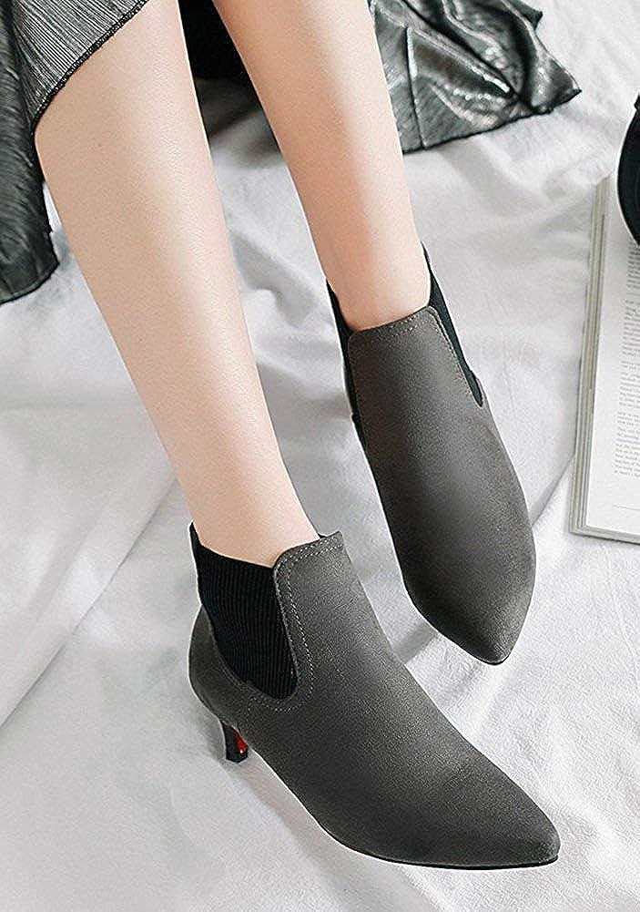 Stilettos Chelsea Boots Womens Pointy Toe Booties Elastic Pull On Kitten Heel Grey