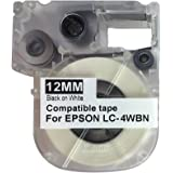 New quality Compatible Epson LabelWorks KingJim TepraPro Black on White 12mm Tape Label LC-4WBN9 SS12KW