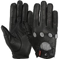 MRX Driving Gloves Button Basic Soft Outdoor Glove Goat Leather Workout Full Finger, Black