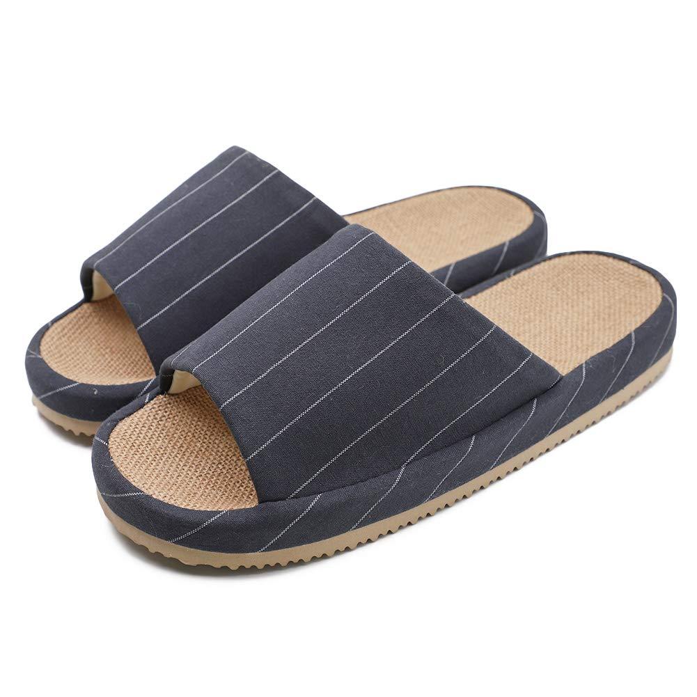 BAOBAO Stripes House Slippers Comfy Cotton Flax Open Toe Slipper Anti Slip Floor Slippers for Women