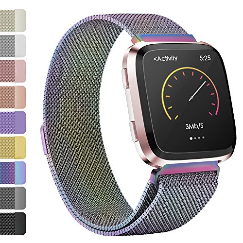 iGK Milanese Replacement Bands Compatible for Fitbit Versa, Stainless Steel Milanese Loop Metal Mesh Bracelet Unique Magnet Lock Wristbands Colorful Small