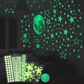 Hommini Wandtattoo Leuchtsticker Selbstklebend 435 Leuchtpunkte Und 30cm Mond Wandsticker Fur Kinderzimmer Sternenhimmel Leuchtsterne Und Fluoreszierend Leuchtaufkleber Mit Starker Leuchtkraft Amazon De Baby