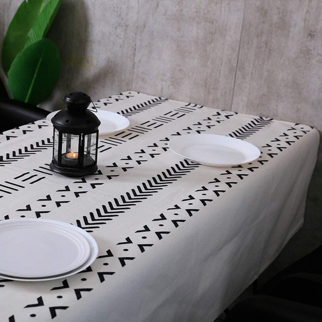 家の装飾布カバー ホームジオメトリテーブルクロス、民俗カスタムライン綿とリネン長方形コーヒーテーブルテーブルクロスレストランダイニングテーブルクロスアートテーブルクロス60-135センチ - 万歳 テーブルクロス   B07RWC6NRX