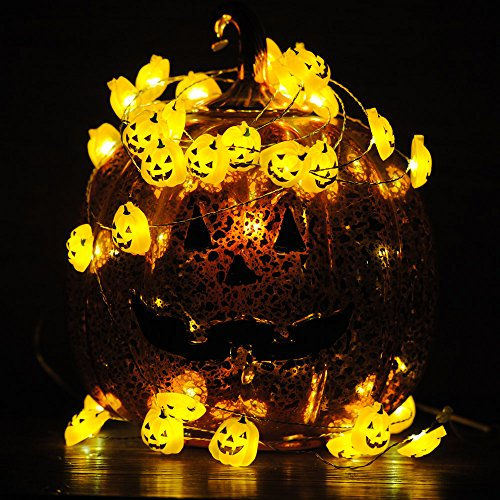 Impress Life Christmas Decoration Light, Pumpkin Funny Face 10ft 40 LEDs New Year Gift, Xmas Decor String Lights Battery Operated with Control for Thanksgiving Wedding Birthday Party Supplies