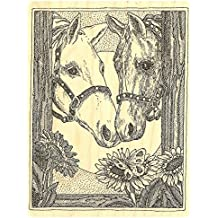"""{Single Count} Unique & Custom (3.5"""" by 4.75"""" Inches) """"Horses & Sunflowers"""" Rectangle Shaped Genuine Wood Mounted Rubber Inking Stamp"""