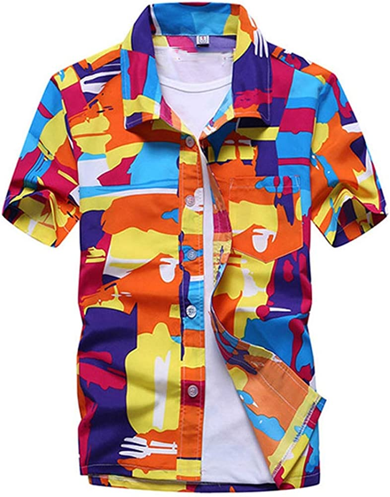 3,XXXL QHF Mens Hawaiian Printed Shirt Men Summer Short Sleeve Casual Vacation Shirts