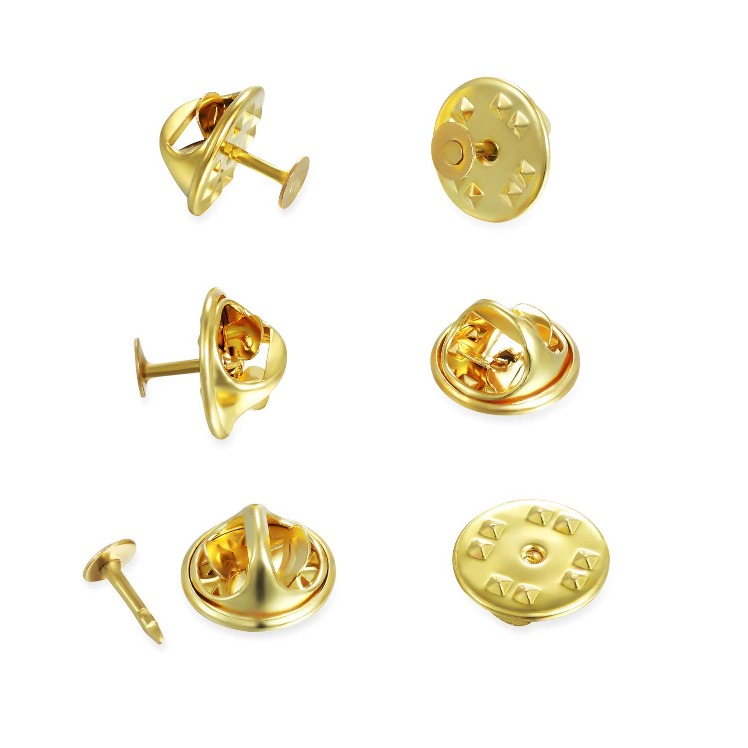 SCStyle 150 Pairs Butterfly Clutch Tie Tacks Pin Backs Locking Clasp Replacement, Blank Pins for Craft Making and Storage Case - Golden