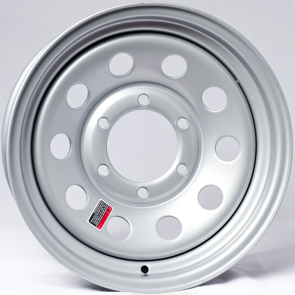 eCustomRim Trailer Wheel Rim 15X6 6 Lug On 5.5' Center Silver Modular 2830#