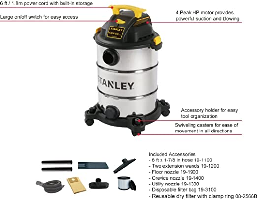 Amazon.com: Stanley Wet/Dry Vacuum, 8 Gallon, 4 Horsepower: Home Improvement