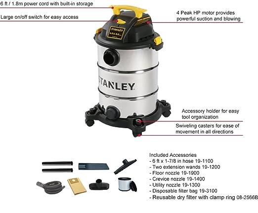 Amazon.com: Stanley Wet/Dry Vacuum, 8 Gallon, 4 Horsepower: Home Improvement