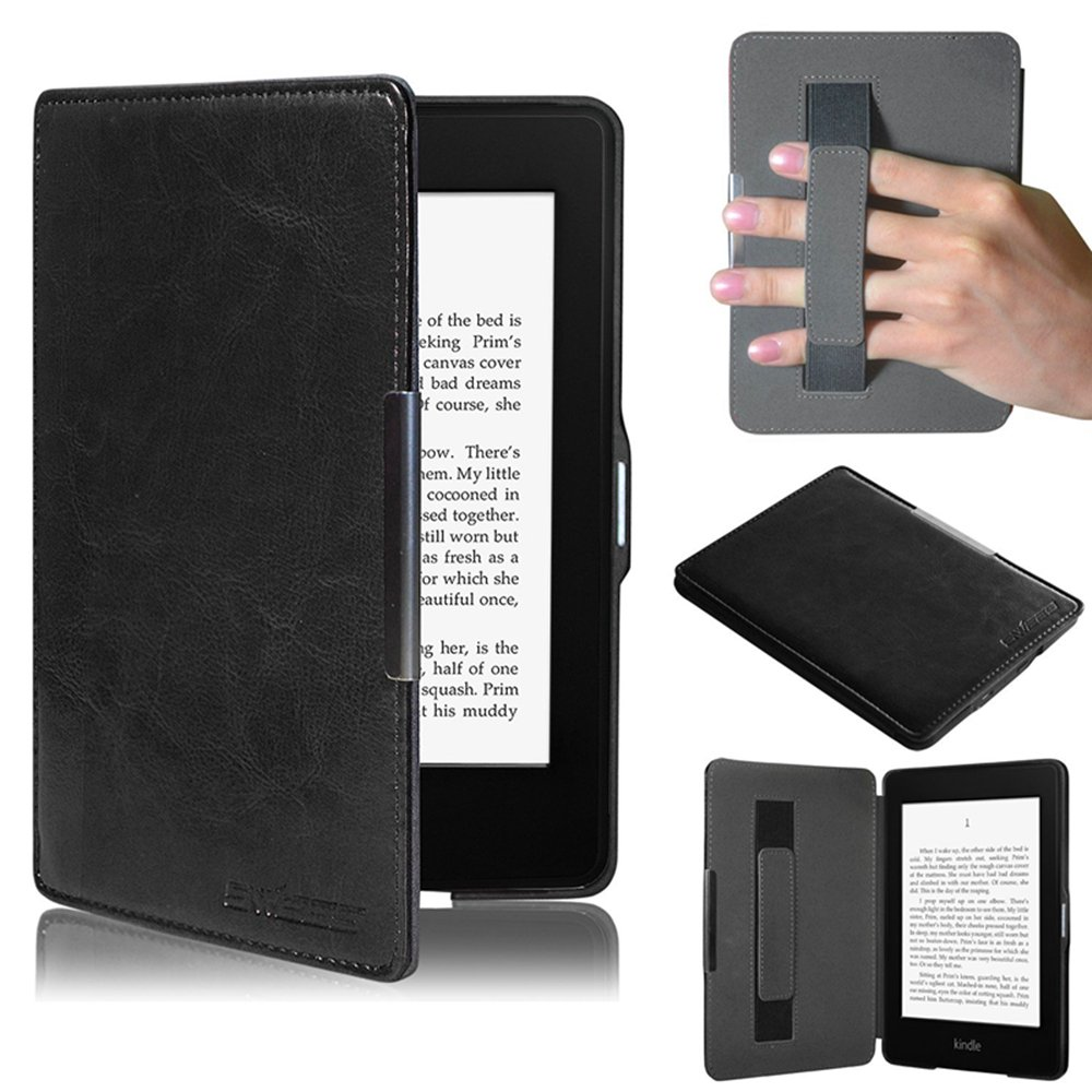Case for Kindle Paperwhite, Ultra Slim Leather Cover with Hand Strap/ Magnetic Auto Sleep Wake Function for New Amazon Kindle Paperwhite by TuoP (Black)
