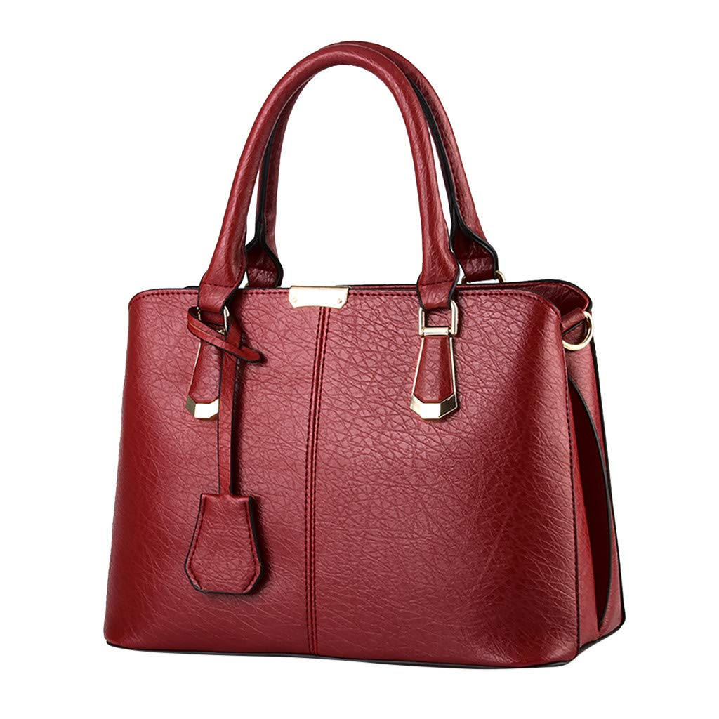 Shoulder Bags,AgrinTol Women Large Capacity Simple Fashion Top Handle Satchel Tote Purse (Red) by Agrintol_Fashion Bags