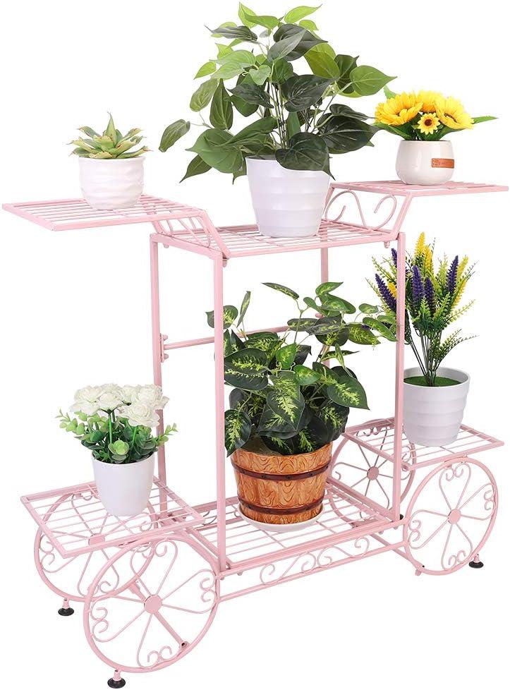 Estantería de Macetas, Soporte Plantas de Hierro con 6 Estantes, Estantería Decorativa para Jardín Exterior Interior 83 x 22 x 70cm