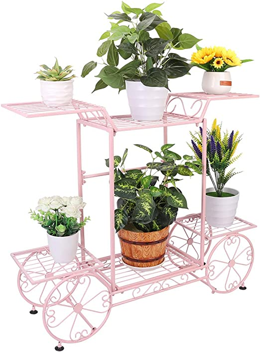 Estantería de Macetas, Soporte Plantas de Hierro con 6 Estantes, Estantería Decorativa para Jardín Exterior Interior 83 x 22 x 70cm: Amazon.es: Jardín