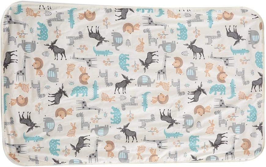 3 capas de algodón Impermeable Bebé Orinal Almohadilla Cama Pañal de línea Cambiador de pañal para bebés, niños pequeños y adultos con incontinencia 29.5x47.2 Inch(Beige + Deer)