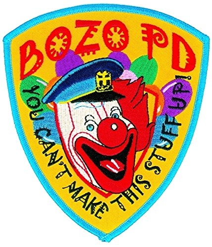 BOZO PD (Iron-On) Patch, 4-1/8 X 5 - Collector Patch, Bozo Police Funny Costume Police Sheriff Security Shield Logo Jacket Uniform Patch Military Patch - Sold by Uniform World (Police Dept Patch)