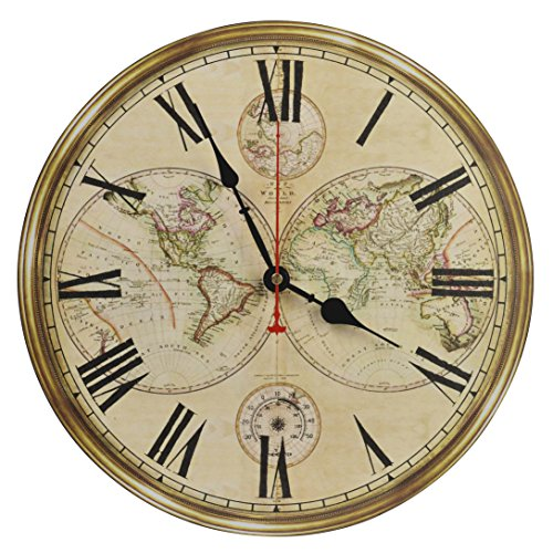 Old Oak 14-Inch Silent Non-Ticking Battery Operated Decorative Wall Clock with Classic Retro World Map Roman Numerals for Kitchen Living Room Bathroom Bedroom Wall Home Decor (Large Rustic Wall Clock With World Map Design)