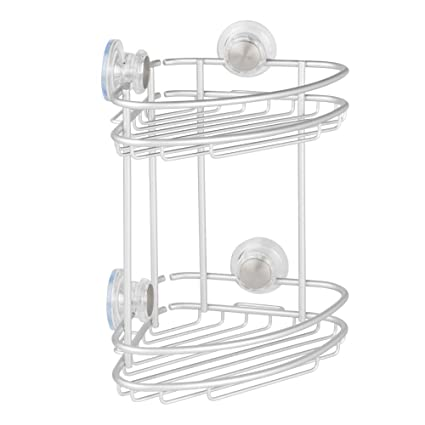 Superieur InterDesign Metro Rustproof Aluminum Turn N Lock Suction, Bathroom Shower  Corner Basket For